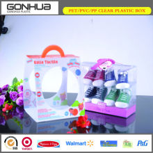 Factory price recyclable new style decoration package clear plastic shoe box with handle
