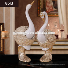 Wholesales casa decorativos cisne de resina parejas Shinning Silver Swan Statue