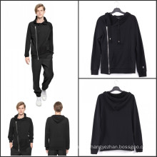 Chest Zipper Casual Hoodies Hooded Black Cotton