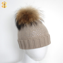 Beige Color Diamond Printed Wool Knitted Pom Pom Fur Kid Child Hat