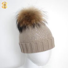 Bege Color Diamond Printed Wool Knitted Pom Pom Fur Kid Criança Hat