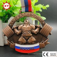 Medalla de levantamiento de pesas 3D Custom Custom Cut con cinta
