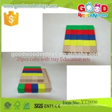 Pedagogía educativa preescolar juguete de madera 25pcs cubos con juegos de educación de bandeja