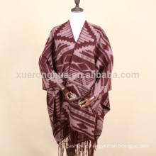 Geometric wool wrap cape for women