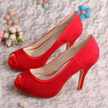 High Heel Red Lace Trouwschoenen Canada