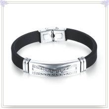 Pulseira de borracha pulseira de silicone do aço inoxidável (LB498)