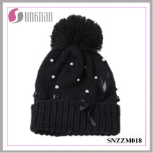 High Quality Winter Multicolor Women Pearl Bow Knit Hat Fur Ball Wool Cap