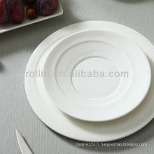 Fournisseurs d'hôtels Casseroles, assiettes en porcelaine rondes, plaques en céramique rondes