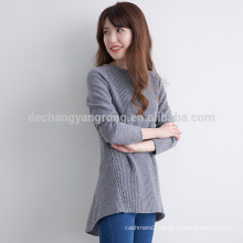 wholesale customized size knitted cashmere grey sweater