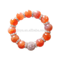 12MM Big Fashion Bling Rhinestone Orange Agate Gem Stone Beaded Bracelet For Party