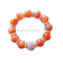 Bracelete frisado da pedra de gema alaranjada grande da ágata do cristal de rocha de Bling da forma de 12MM para o partido
