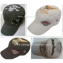 Embroidery and print design army flat top military cap hat