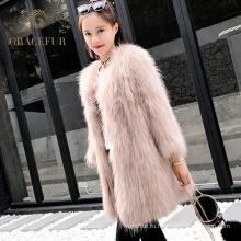 Быстрый поставщик корейский натуральный мех енота пальто