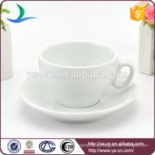 2015 Inovador preço baixo produto cerâmica branca porcelana xícara de café e pires atacado