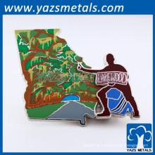 Pino de lapela de esmalte macio de metal com embreagem de borboleta