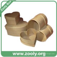 Marrón de color liso anidados caja de regalo de papel de cartón (zc006)