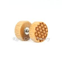 Honig Kamm Design Naturholz gefälschte Plug Ohrringe für Männer