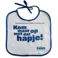 Babete promocional para bebê com fechamento em cordão de algodão branco impresso personalizado
