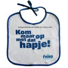 Werbeartikel individuell bedruckte weiße Baumwollschnur, die Babylätzchen schließt