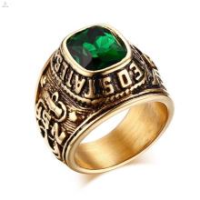 Anéis feitos sob encomenda da graduação da classe do campeão da indicação do cristal de rocha do vintage de aço inoxidável