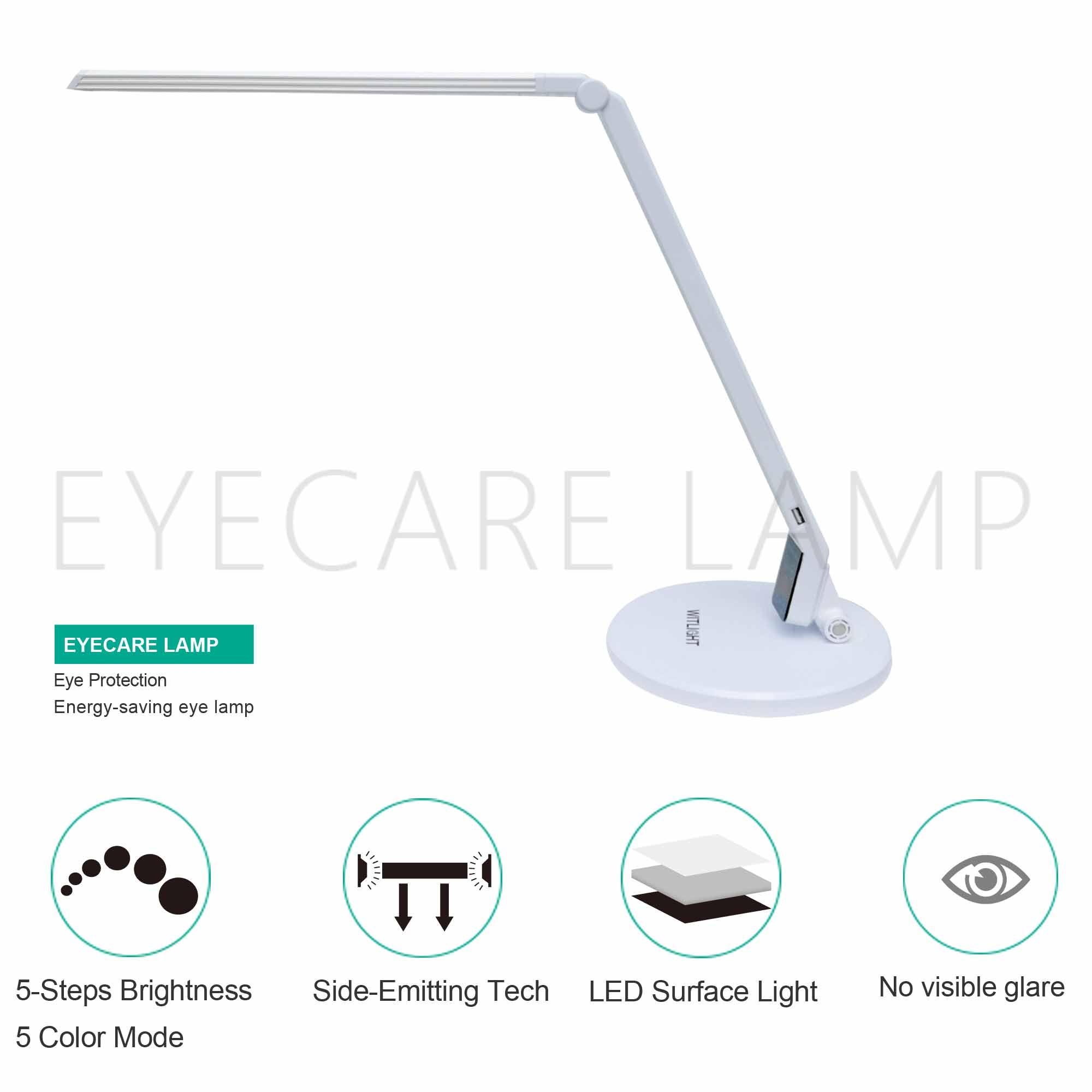 ABS LED Lamp Desk Color Temperature Adjustable