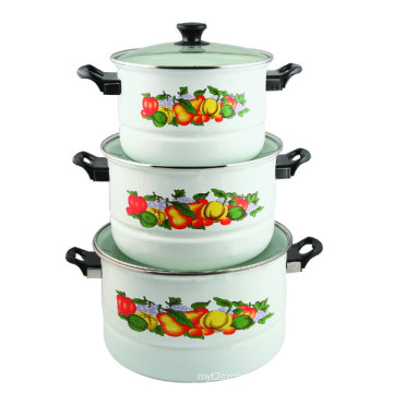 3PCS Set Enamel Steamer Pot 26/30/34cm 9705D
