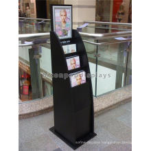Outdoor Matt Black Wood Painted Stand Alone Outdoor Advertising Display Stand For Leaflets