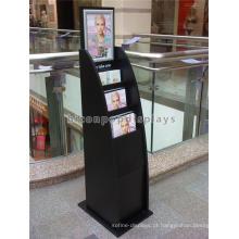 Outdoor Matt Black Wood Painted Stand Alone Publicidade ao ar livre Stand de exibição para folhetos