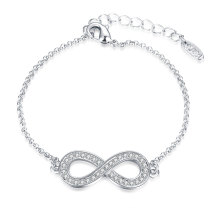 Fashion Platinum Plated Bracelet Eight Shape Cezch Drill Pendant Charm Bracelet Jewelry