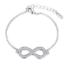 Pulseira de moda Platinum Plated Oight Shape Cezch Drill Pendant Charm Bracelet Jewelry