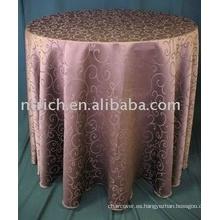 barato alta calidad alrededor de paño de tabla del telar jacquar del poliester para el banquete de bodas