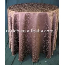 cheap high quality round polyester jacquard table cloth for wedding banquet