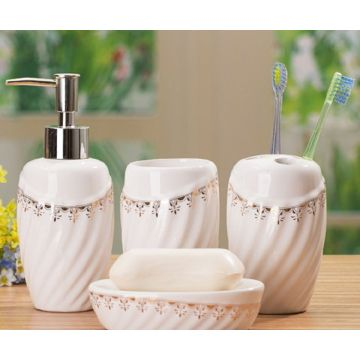 4 PC Of Corrugated Ceramic Bath Set