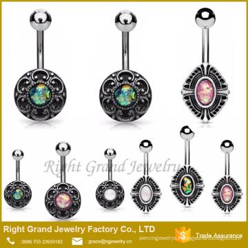 Grands anneaux de bouton de nombril de planète de style tribal d'opale de terre piercing échantillon gratuit
