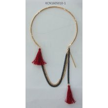 Fashion Large Collar Red Fabric Choker with Metal Tassel