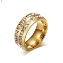 Anel gravado de aço inoxidável de cristal, projeto do anel de dedo do ouro para homens das mulheres com preço