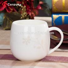 Beautiful flower decal middle capacity new bone china mug