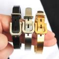 fashion black belt design energy jewelry stainless steel bracelet