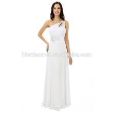 2017 new arrival mulheres branco cor vestido de noite longo design de um ombro frisado chiffon vestido de noite