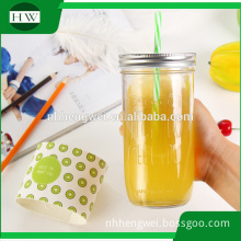 OEM Custom glass jar with lid and straws with free sample