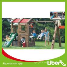 Playhouse pour enfants avec balançoire et glissière (LE.HT.074)