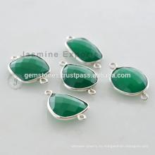 Conector de bisel de piedras preciosas de Onyx verde, conector de bisel de plata esterlina 925