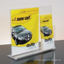 Customized Acrylic Menu Holder Display with Brochure Pocket
