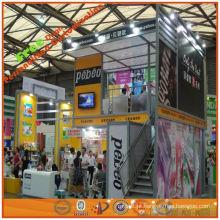 Projete e faça a cabine de exposição feita sob encomenda de dois assoalhos para a feira profissional, sistema de exposição portátil da fábrica de Shanghai