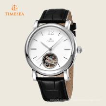 Skeleton Automatikuhr mechanische Uhr mit echtem Lederband 72342