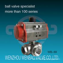 Válvula de bola de acero inoxidable de tres vías actuada neumáticamente