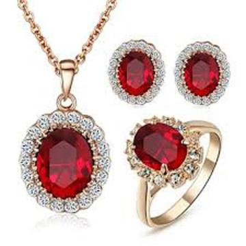 Conjunto de jóias de prata 925 com pedras preciosas