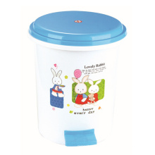 Cute Cartoon Pinted Design Plastic Pedal Dustbin (YW0088)