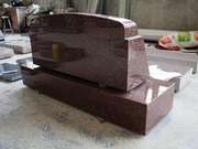 Indian Red Granite Polished Slant Marker Tombstone