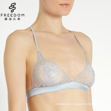 2017 new sexy design fresh blue full sheer trasparent soft lace back design bra and panty set